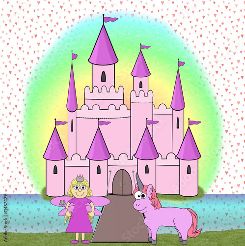 Poster Castle Fairytale Princess Cartoon Scene