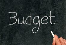 Budget, Written With White Chalk On A Blackboard.