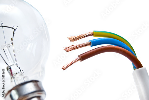 Electrical cable on White background