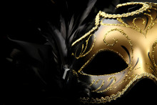 Ornate Carnival Mask Over Blac...