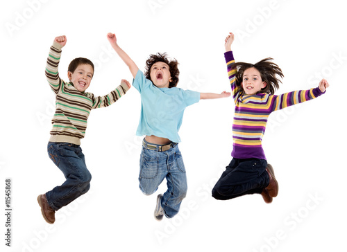 Three happy children jumping at once Poster