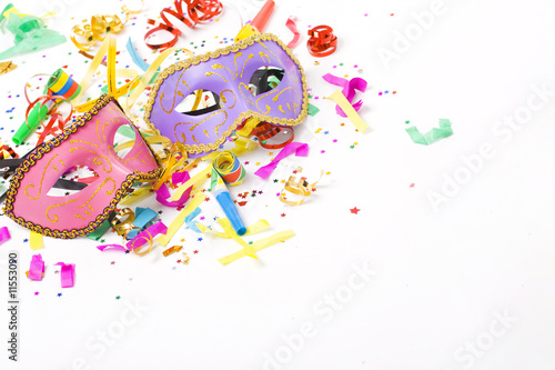 Canvas Prints Carnaval carnival masks and colorful confetti on white