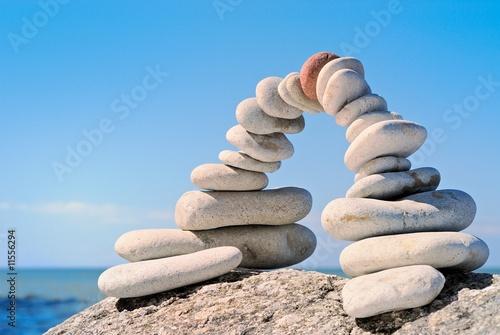 Acrylic Prints Stones in Sand The quiet sea