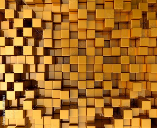 Naklejki abstrakcyjne zlote-klocki-z-ulozeniem-3d