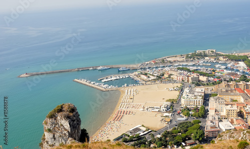Italy Terracina harbour and beach Fototapet