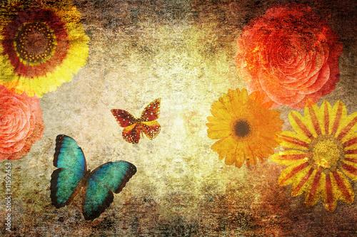 Photo sur Toile Papillons dans Grunge Floral grungy paper