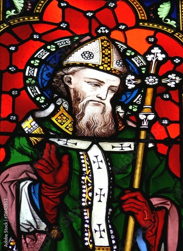 Photo  Saint Patrick in stained glass