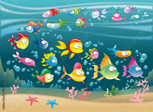 Poster kids room Big Family of Fish in the sea