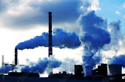 Fotografie, Obraz  smoke polutted chemical factory
