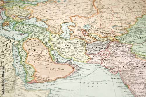 Poster Middle East Vintage Map and Chart