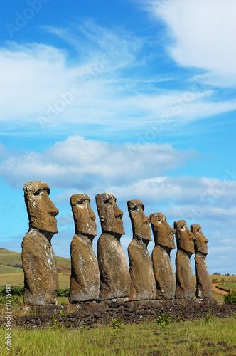Moai at Ahu Akivi (Easter Island, Chile) Canvas Print