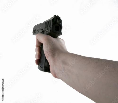 Photo  Hand Holding Aiming Slingshot Black Pistol