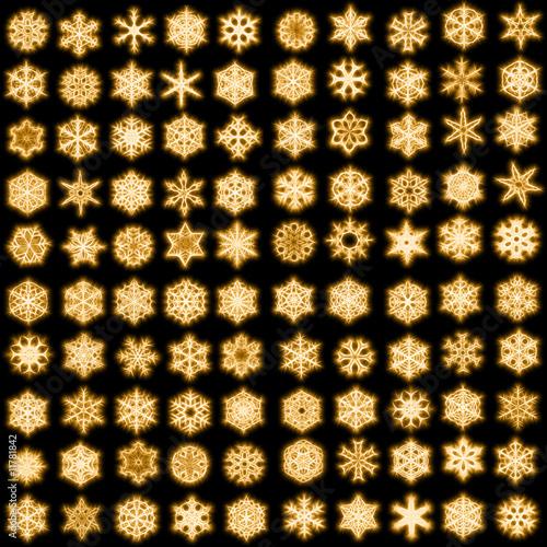 Keuken foto achterwand Leder Set of 100 unique snowflakes in sparkled style