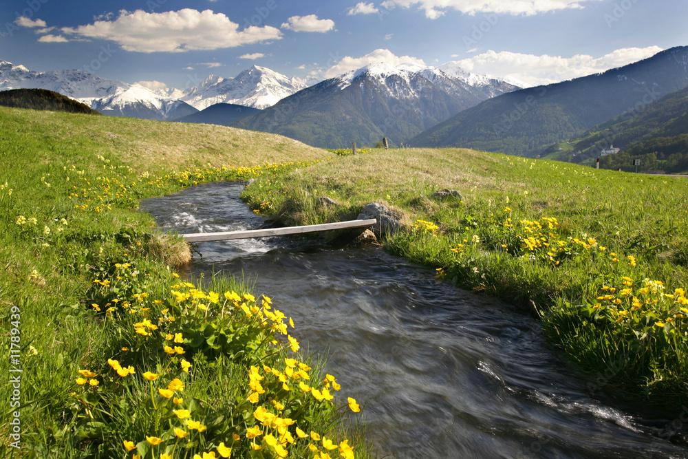 Fototapeta Alpenbach Übergang in Südtirol