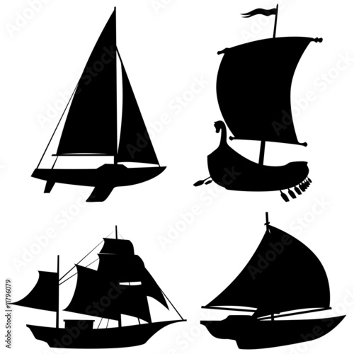 Photo Stands Draw Barche sagome-Bateau vecto-Boat shapes