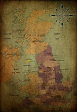 England Map On Vintage Paper