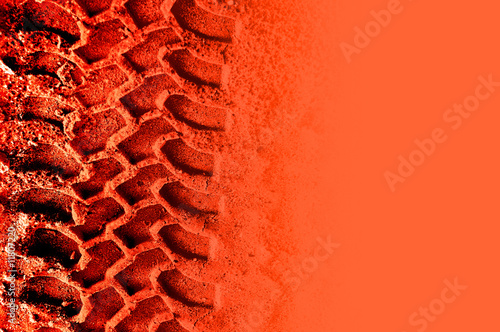 Life on Mars! Tyre pattern on reddish orange with copyspace фототапет