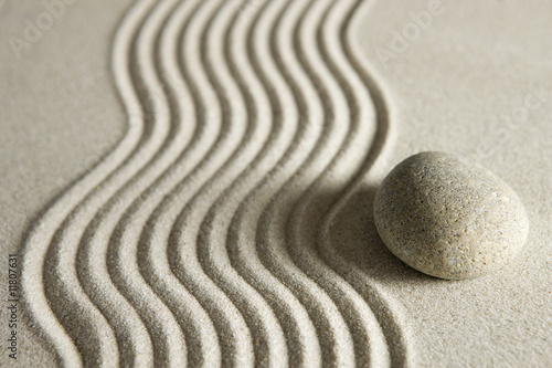 Acrylic Prints Stones in Sand Stone on raked sand