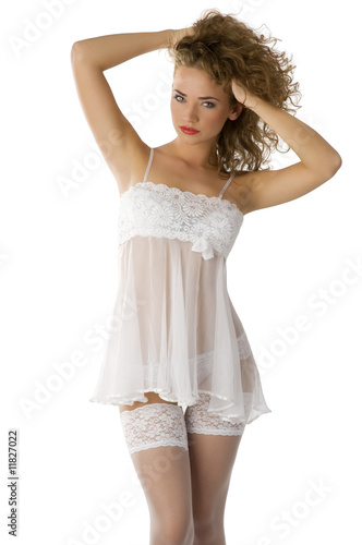 pinup in babydoll Canvas Print