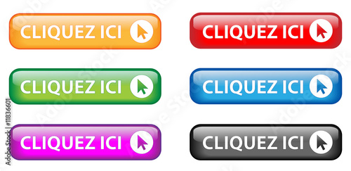 """Fotografía  Boutons """" Cliquez ici """" avec curseur (multicolores)"""