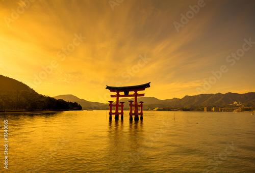 Unesco world heritage shrine gate at sunset