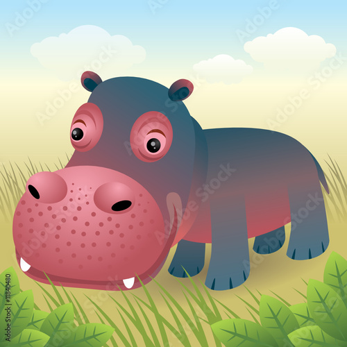 Foto op Aluminium Zoo Baby Animal collection: Hippo