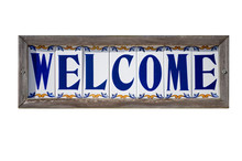 Isolated Welcome Sign On Spani...