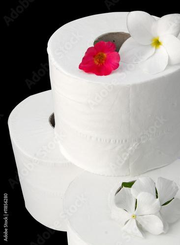 Rouleaux De Papier Toilette Avec Fleurs Sur Fond Noir Buy This