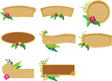 Wooden Bamboo Frames With Flowers Set