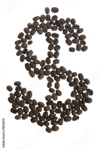 Wall Murals Coffee beans Coffey dolar $ sign