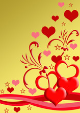 Red & Gold Valentine's Day Greetings Card