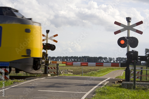 Fotografia, Obraz  Train passes level crossing with high speed