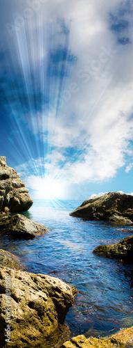 Foto Rollo Basic - Sea tide between rocks