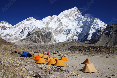 Wall Murals Nepal Landscape with the tents in the Gorak Shep