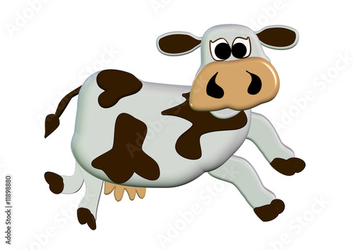 Valokuva  3D Moo Cow Cartoon - Isolated On White