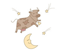 Cow Jumped Over The Moon Illustration