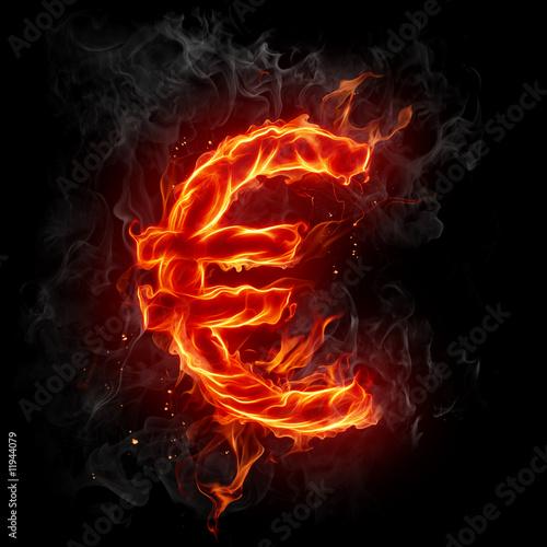 Canvas Prints Flame Euro symbol