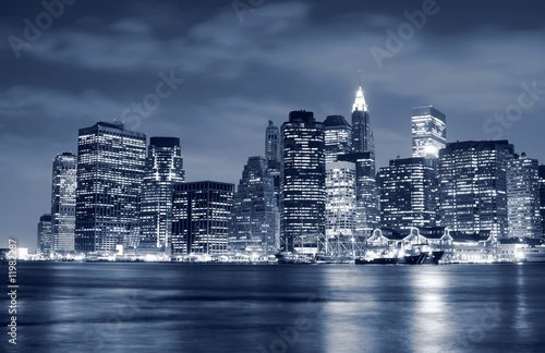 Foto-Kassettenrollo premium - Lower Manhattan skyline At Night