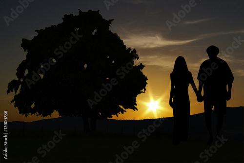 couple et coucher de soleil Canvas Print