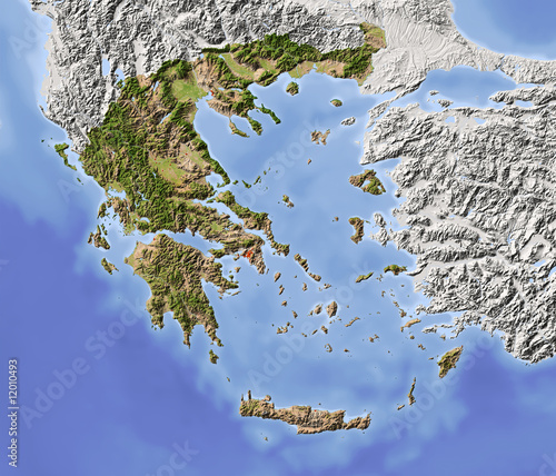 Leinwand Poster Greece, shaded relief map