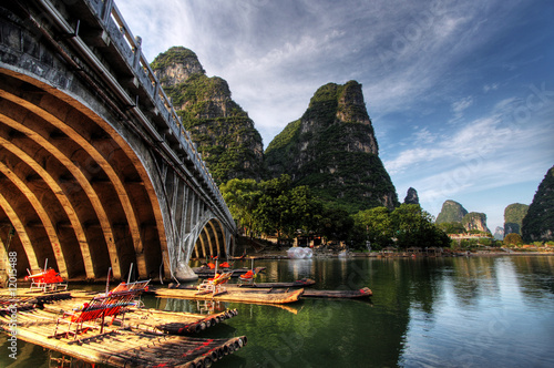 Stickers pour porte Guilin Bamboo raft on the Li river