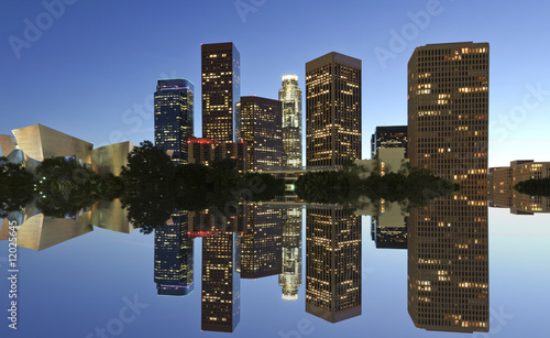 Poster Los Angeles Los Angeles skyline and reflection