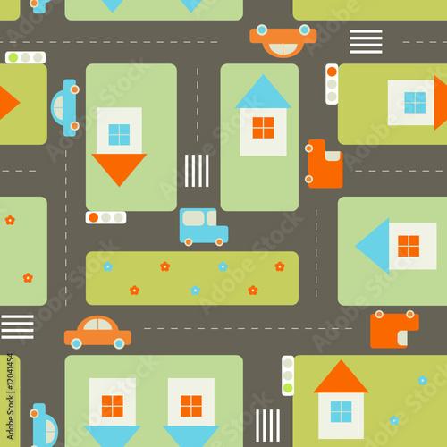 Poster de jardin Route Streets seamless pattern