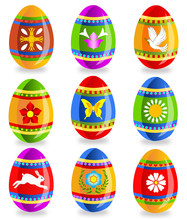 Easter Eggs With Symbols Of Spring (set 1)