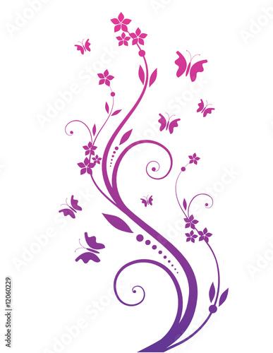 Cadres-photo bureau Papillons dans Grunge magic tree with butterflies
