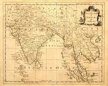 Vintage Map Of India And South...
