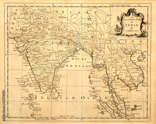 Vintage map of India and Southeast Asia, printed in 1750. - Buy this on