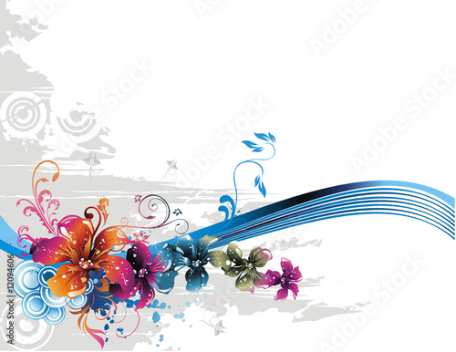 Keuken foto achterwand Vlinders in Grunge vector fantasy flowers illustration