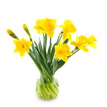 Glass Vase With Daffodils