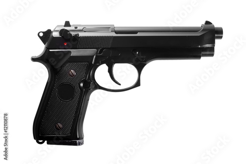 Photo Black semi automatic handgun isolated on white background